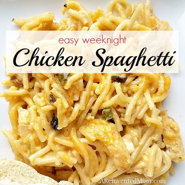 Comfort food for busy days. Easy Weeknight Chicken Spaghetti - A Reinvented Mom